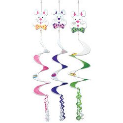Beistle 40695 1-Pack Easter Bunny Wind-Spinners, 3-Feet 6-Inch, Multicolor