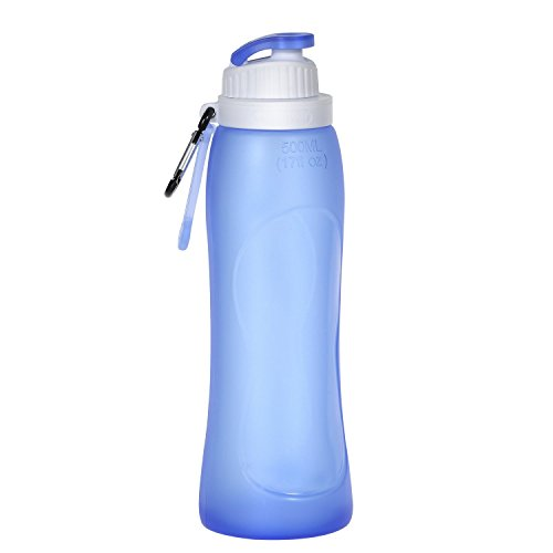 HAMSWAN 500ml Bpa Free Silicone Foldable Water Bottle with Hook [Leakproof, Heatproof, Portable, Semi-Transparent] for Outdoor Sports (17OZ)- Blue (Naglene Container compare prices)