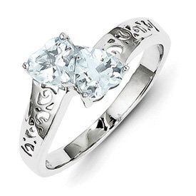 Genuine IceCarats Designer Jewelry Gift Sterling Silver Rhodium Aqua Heart Ring Size 8.00