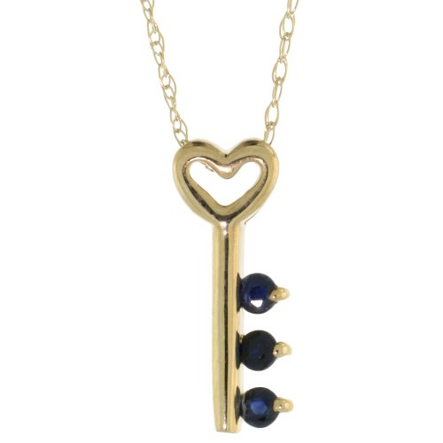 10k Gold 18 in. Thin Chain & 5/8 in. (16mm) tall Key To My Heart Pendant w/ Brilliant Cut Blue Sapphire Stones