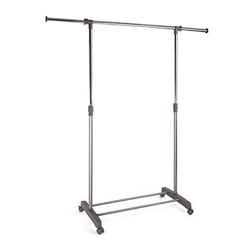 ProAid Adjustable Single Rail Garment Rack, Portable Clothes Hanging Rolling Clothes Rack with Brake Wheels (Inside Clothes Dryer Rack compare prices)