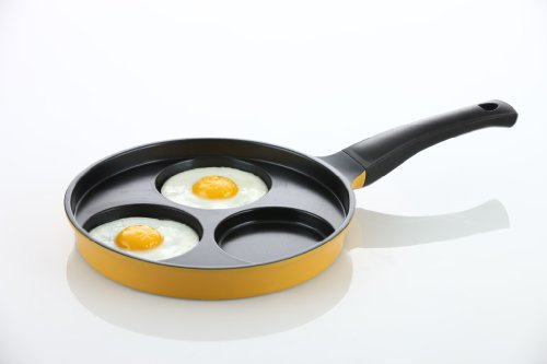 "Flamekiss 9.5"" Orange Ceramic Coated Nonstick 3-Cup Egg Cooker Pan by Amor, Innovative & Elegant Design, Nano Ceramic Coating w/ Silver Ion (100% PTFE & PFOA Free)"