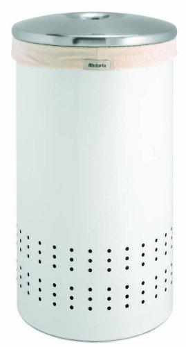 Brabantia Laundry Bin, 50 Litre, White and Matt Steel