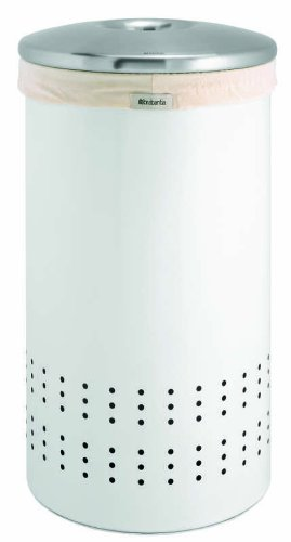 Brabantia Laundry Bin, 50 Litre, White and Matt Steel