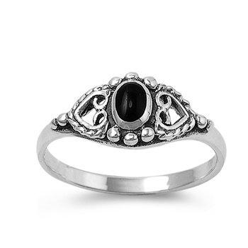 Little Treasures Rhodium Plated Sterling Silver Wedding & Engagement Ring Black Onyx Ladies Ring 8MM