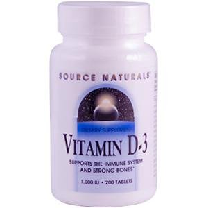 Source Naturals, Vitamin D-3, 1,000 IU, 200 Tablets
