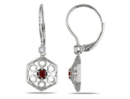 Sterling Silver, Diamond and Garnet Earrings(.03 cttw, GH Color, I1-I2 Clarity), 17