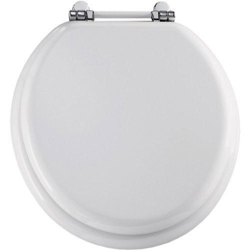 wooden white toilet seat. The Features Bemis 960PCH000 Molded Wood Retro Round Toilet Seat With  Chrome White Hinges