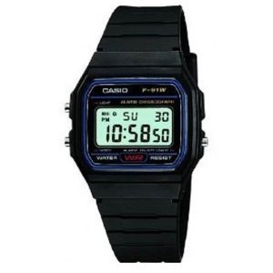 Casio Classic Mens Casual Water Resistant Digital Wrist Watch with Resin Band - Black - Ref. F-91W