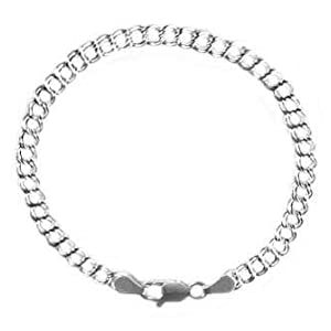 Sterling Silver Double Link Chain Charm Bracelet 060