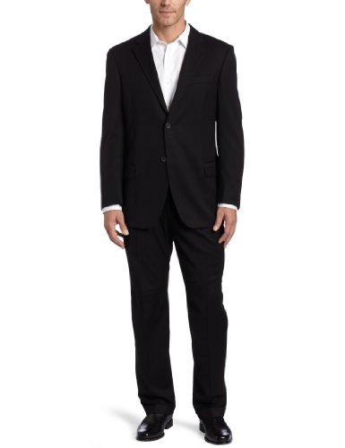 Dockers Men's Suit Separate Coat, Black Solid Herringbone, 42 R
