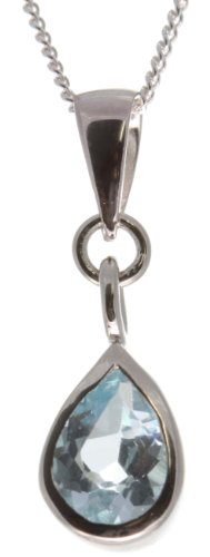 Beautiful 925 Sterling Silver Ladies Pendant + Chain with Blue Topaz - 14mm*7mm
