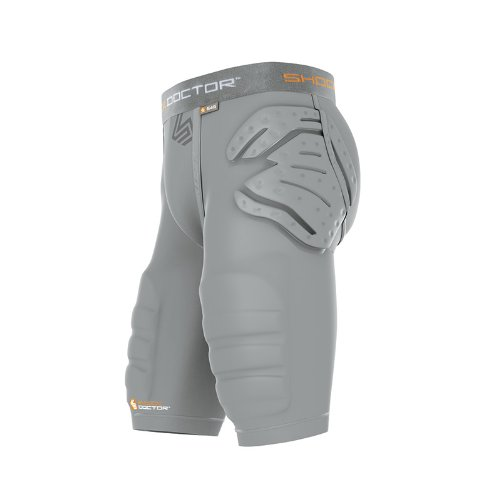 Shock Doctor Shockskin 3-Pad Impact Short with Integrated Thigh Pads (Grey, Men's Large)