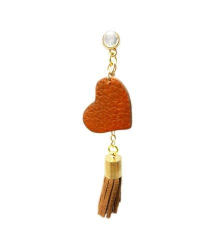 Tdz Earphone Jack Accessory: Tassel Heart Charm (Brown)
