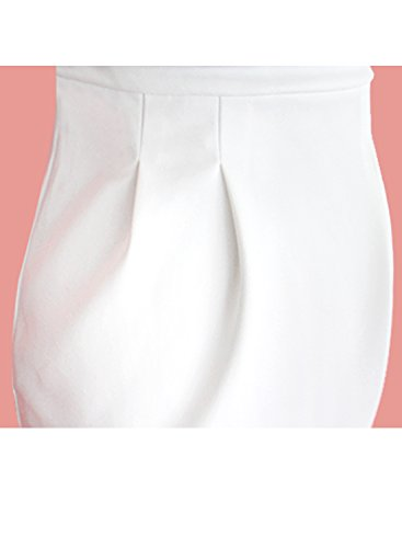 VfEmage Women's Celebrity Elegant Ruched Wear to Work Party Prom Bodycon Dress 1157 WHT S