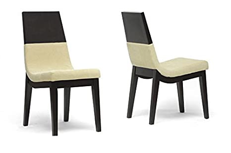 Prezna Dark Brown and Beige Modern Dining Chair with Chanasya Polish Cloth Bundle (Set of Two)