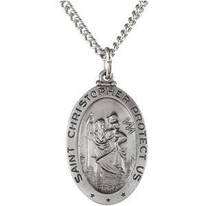 Oval Saint Christopher Necklace in Solid Sterling Silver Protect Us Medal 23.75x16.25 MM