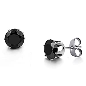 Fashion Shiny Black Cubic Zirconia Titanium Men's Stud Earrings (Easter's Gift)
