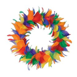 Feather Wreath (rainbow) Party Accessory  (1 count)