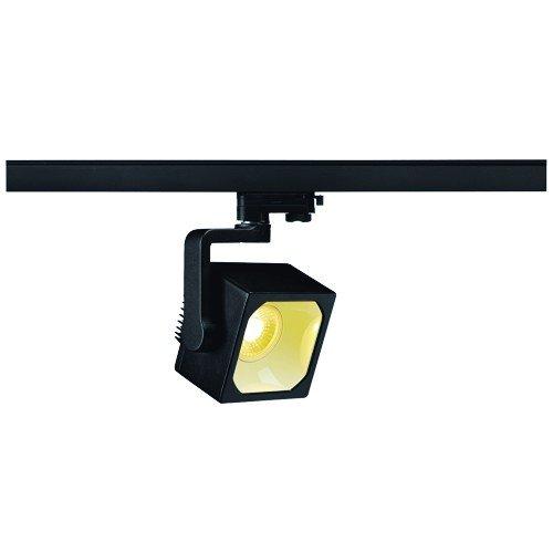 SLV LED 3-Phasen Strahler Euro Cube, 28,5W, 3000 K, 30 Grad, inklusiv Adapter, schwarz 152740