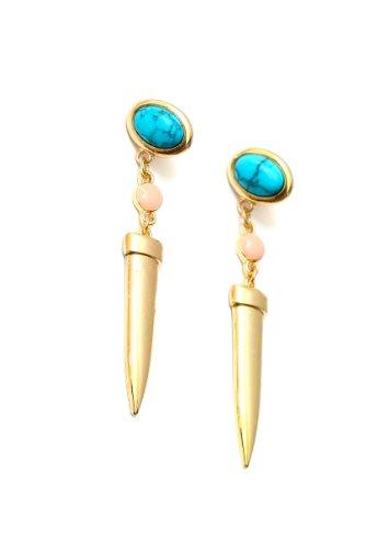 Turquoise Stud Spike Drop Earrings Blue Howlite Dangle Chandelier EE24 Fashion Jewelry