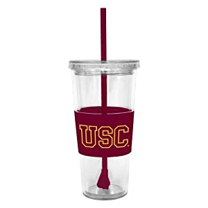 Buy NCAA USC Trojans 22 Ounce Insulated Tumbler with Rubber Sleeve and Stir Straw by Boelter Brands