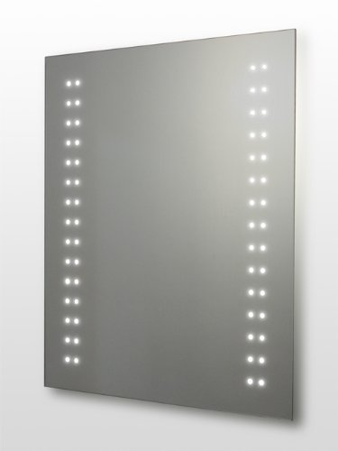 LED Illuminated Bathroom Mirror, 800 x 600mm IP44 Rated with On/Off Infra-Red Sensor, Demister Pad and Shaver Socket