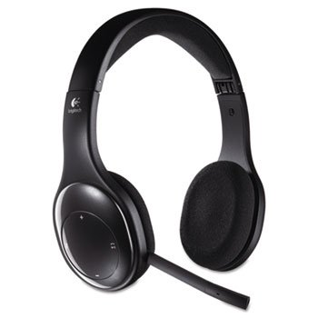 H800 Binaural Over-The-Head Wireless Headset 4 Ft Range Black
