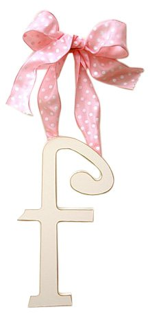 New Arrivals Wooden Letter F with Pink Polka Dot Ribbon, Cream