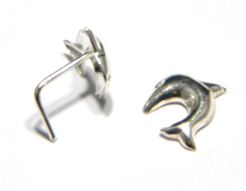 Dolphin Nose Stud - Genuine 925 Sterling Silver