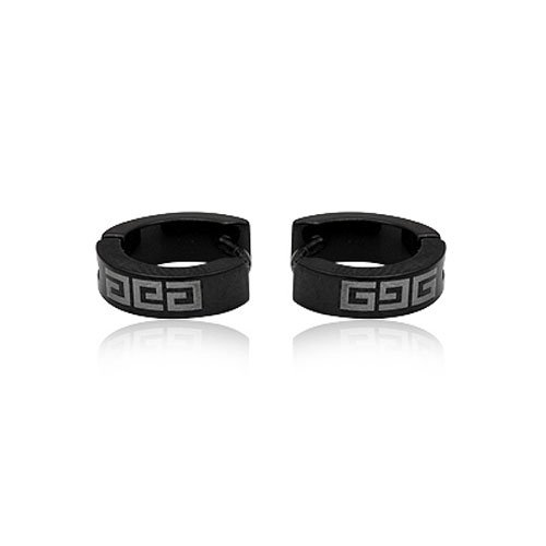FASHION BLACK STAINLESS STEEL HOOP EARRING FOR MEN JEWELRY 5.08grams