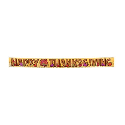 Happy Thanksgiving Metallic Fringe Banner 9 Feet Long