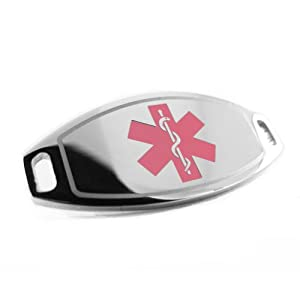 Pre-Engraved - Diabetes Type 1 Medical Alert ID Tag, Attachable to Bracelet, Pink Symbol from My Identity Doctor