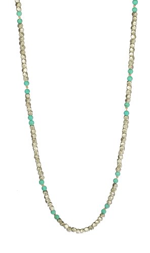 Turquoise Bead and Silver Tone Faceted Cut Bead Endless Necklace, 80