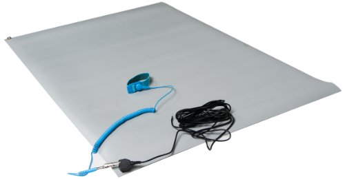 "ESDProduct Vinyl General Purpose Mat Kit with Wrist Strap and 15' Ground Cord, 3/32"" Thick, 5' Length, 2-1/2' Width, Gray at Sears.com"