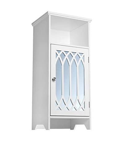 Elegant Home Chateau Calais Floor Cabinet with Mirrored Door & Open Shelf, White