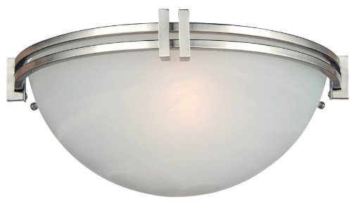 Yosemite Home Decor 98372-1Sn Sequoia Halfmoon Wall Sconce With Frosted Alabaster Shade, 1-Light, Satin Nickel front-463974
