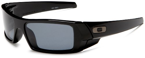 Oakley Men's GasCan Polarized Sunglasses,Polished Black Frame/Grey Lens,one size