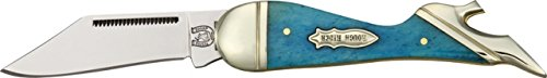 Rough Rider Small Leg Fold Knife 3 1/4in, SS clip blade, Turquoise smooth bone handle