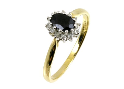 Ladies' Sapphire and Diamond Cluster Ring, 9ct Yellow Gold, Cluster Set, Round Cut, 0.1 Carat Diamond Weight, Ring Size N, Model PR6963 (I)