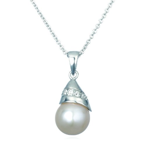 White Freshwater Pearl Pendant with White CZ-18