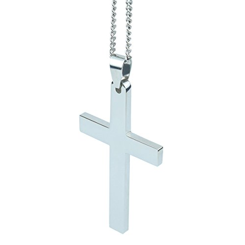 Bliqniq 316L Stainless steel Mens Simple Cross Necklace Crucifix Pendant Necklace for Men 22'' 24'' (Mens Cross Necklace Platinum compare prices)
