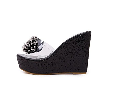 Diamante di Xia Shui donna trasparente con perline tacco alto piattaforma sandali e pantofole pantofole glitter pesci Pantofole , black , 37
