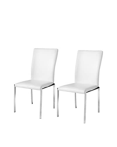 Armen Living Set of 2 Vengo Side Chairs, White