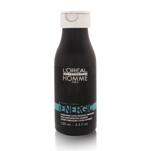 L'Oreal Professionnel Homme Energic High Foam Energising Shampoo 100ml/3.4oz (Travel Size) by L'Oreal Professionnel Homme