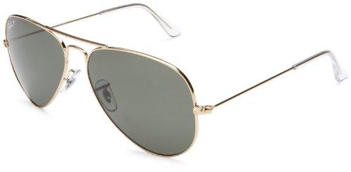 Ray-Ban RB3025 Aviator Large Metal Sunglasses 58 mm, Polarized, Arista Gold/Polarized Crystal Green