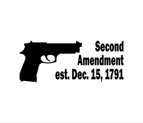 Second Amendment RIGHT TO BEAR ARMS Vinyl Decal Car Window Bumper Sticker, die cut vinyl decal for windows, cars, trucks, tool boxes, laptops, MacBook - virtually any hard, smooth surface (Right To Bear Arms Window Decal compare prices)