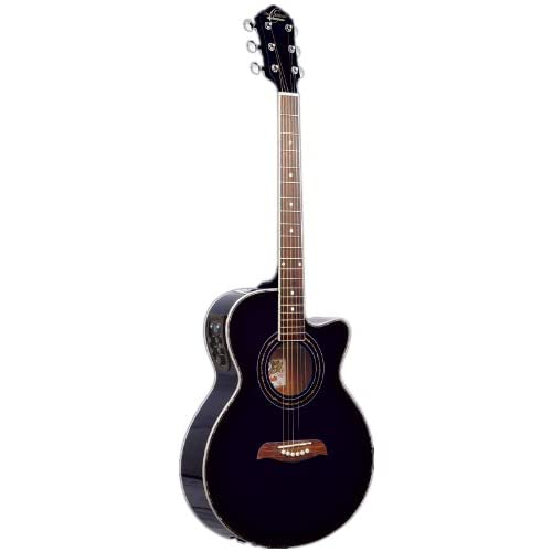 Oscar Schmidt OG10CE Cutaway Acoustic-Electric Guitar - Flame Transparent Black best price
