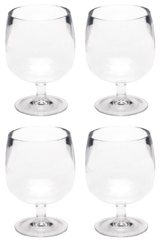 Zak Designs Stacky 4-Piece Plastic Cordial Glass Set, 2.25-Ounce, Clear