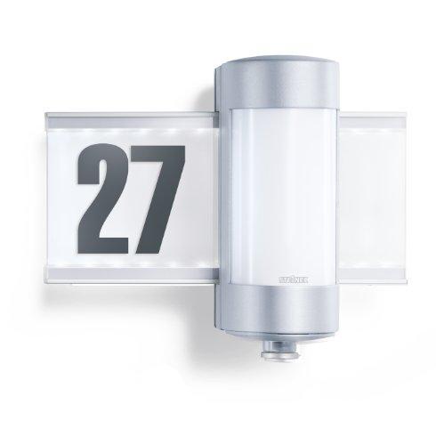 Steinel-Sensor-Hausnummernleuchte-L-270-S-mit-LED-hinterleuchteter-Glasscheibe-Wandleuchte-mit-360-Infrarot-Bewegungsmelder-mit-8-m-Reichweite-Auenleuchte-inkl-Hausnummernbogen-647810